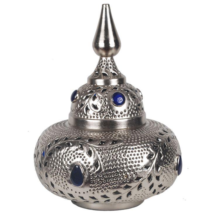 Tafellamp Marrakech groot met blauwe stenen. Collectione / Casa-Bella #Tafellamp #Verlichting #Lamp #Casabella
