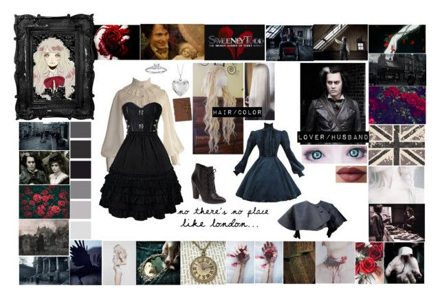 """Sweeney Todd: Vittoria Barker"" by ghostastickitty ❤ liked on Polyvore featuring Fleet Street, Nourison, GET LOST, Steve Madden and Blue Nile"