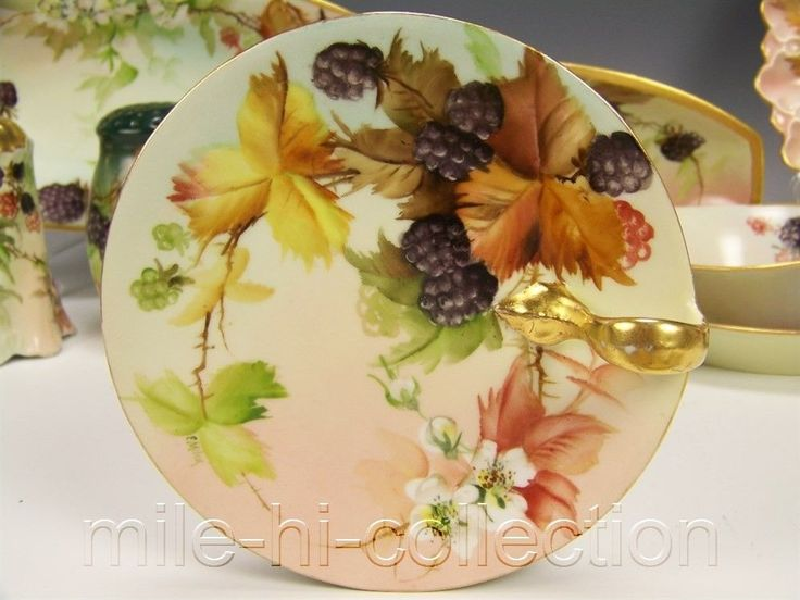 Limoges France Hand Painted Black Berries Nappy Tray Ring Dish Signed E Miler | eBay
