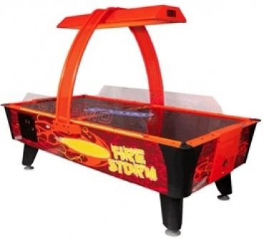 Fire Storm Air Hockey Table - The Fire Storm Air Hockey Table is an exceptional design on the game, brimming with a fiery energy. Its glowing UV coated playing surface works in conjunction with integrated LED lighting and an overhead backlight, resulting in a dazzling array of lights, colours and sounds that will attract players from a mile away.