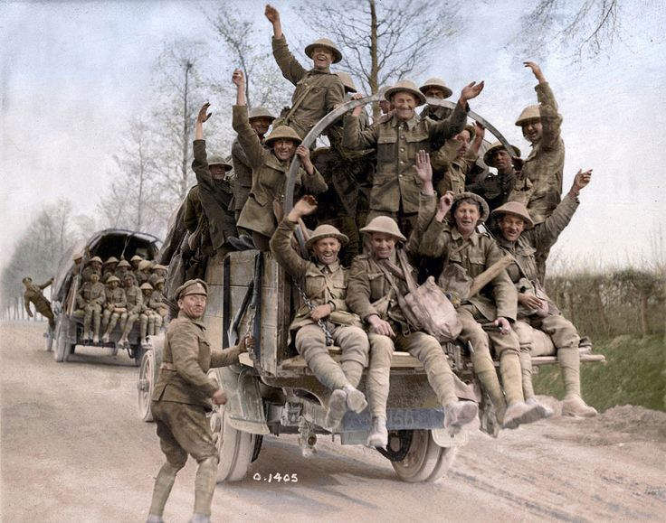 Canadian soldieirs returning from Vimy Ridge Photo courtesy of the Vimy Ridge Foundation, colourized by Canadian Colour Canadian War Museum George Metcalf ARchival Collection 19920085-295