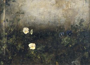 Kingdom of the Pansy, by Antonio Lopez Garcia, Pansies, 1966, oil on board, 22 x 31 inches