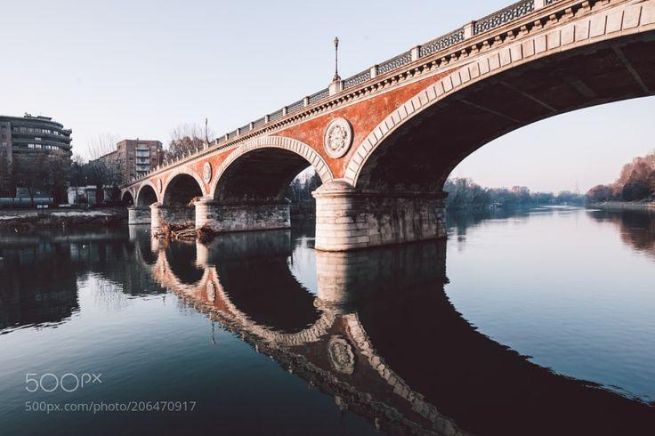 Another bridge. by ikhals - landscapecitysunsetnatureriveritalyurbanbridgeitaliaturintorino