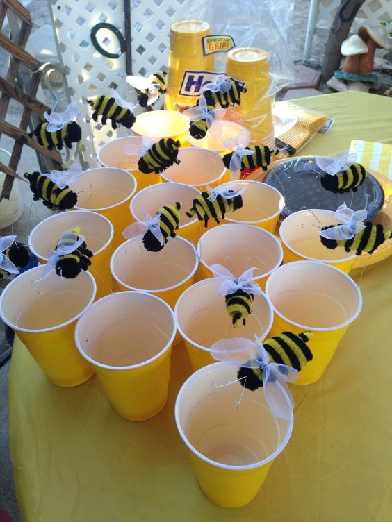 "My aunt added cute bee's to my yellow cups. We used these as our fruit cups. They were a hit!! Great ""What Will It Bee?"" decorating.:"