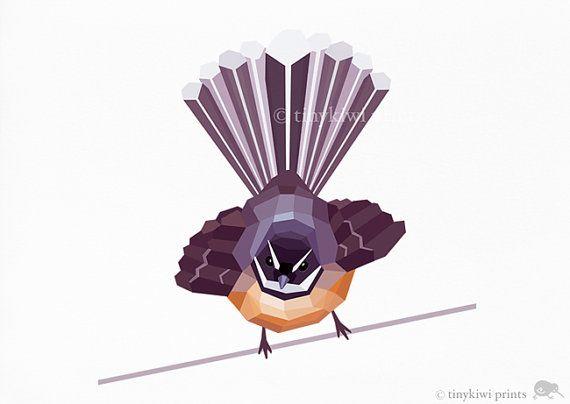 Fantail, New Zealand bird print, Geometric print, Original illustration, Animal print, Minimal art, Nursery wall art on Etsy, £5.55