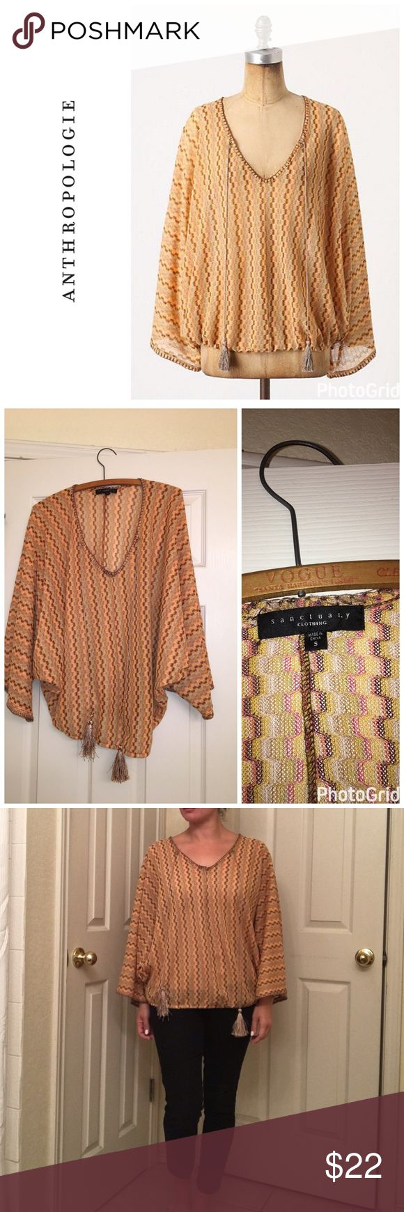 Anthropologie Maricopa Point top - poncho With tassel embellishments . Size s but will fit a size m easily . Top is in like new condition . Semi sheer so I am wearing a nude cami underneath . Will bundle for 10% off Anthropologie Tops