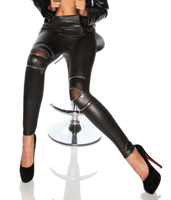 Fashion mustat ruusukuvioidut leggingsit