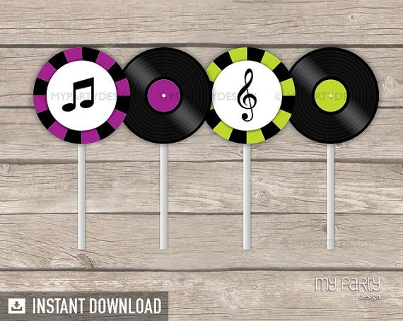 Music Party  Cupcake Toppers  Party Circles  by mypartydesign