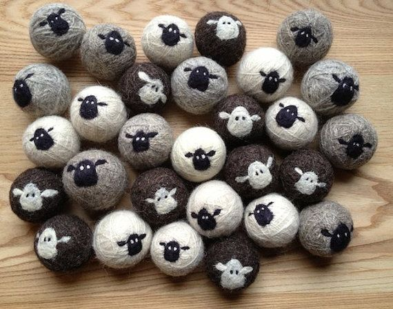 Sheepy 100 Wool Felt Dryer Balls by lynnslids on Etsy, $25.00 x2                                                                                                                                                                                 More