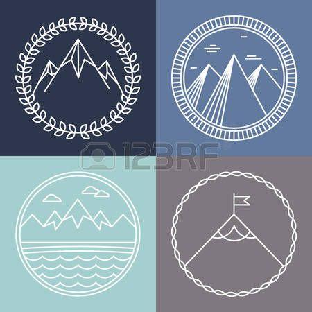 ベクター山ロゴとエンブレムのアウトライン スタイル - 抽象的なデザイン要素とバッジをラウンド photo