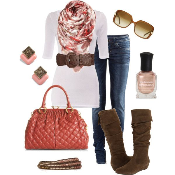 Rose + Denim + BrownColors Combos, Fashion, Brown Boots Spring Outfit, Style, Clothing, Fall Winte, Cute Fall Outfit, Cute Outfit, While