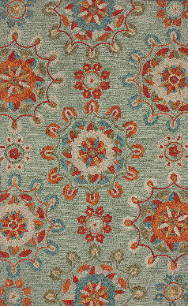 RugStudio Presents Nuloom Barcelona Faded Medallions Spa Blue Hand Tufted Good Quality Area Rug Bedroom RugsLiving