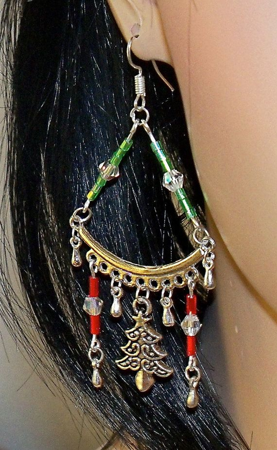 Christmas Red and Green Chandelier Earrings with by Ricksiconics, $12.00