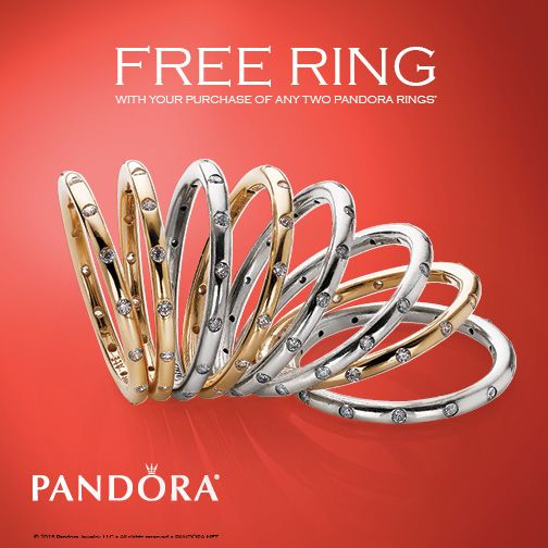 July 2nd through 12th buy two Pandora rings and get a third of equal or lesser value free! Come see us for details