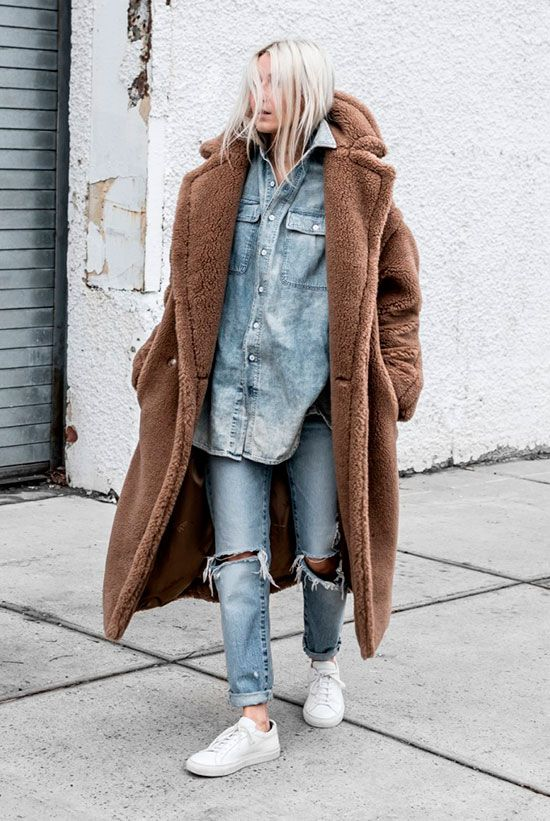 Brown teddy coat, denim shirt, distressed straight jeans, white sneakers - Teddy coat outfit, teddy coat trend, winter fashion, fashion, fashion 2018, fashion trends 2018, street style, casual outfit, casual winter outfit, sneakers outfit, denim on denim outfit, comfy outfit, weekend outfit.