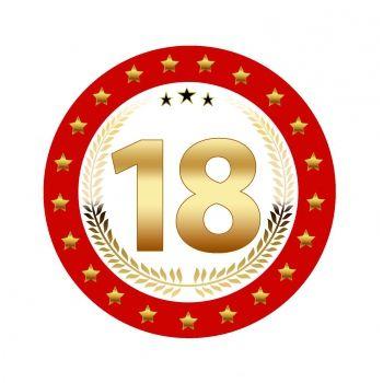 25 stuks Luxe Bierviltjes met 18 jaar opdruk. Rood met goudkleurige uitvoering en dubbelzijdig bedrukt.