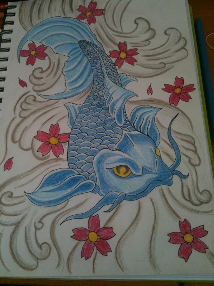 blue koi  buntstiftzeichnung auf din a4 zeichenpapier