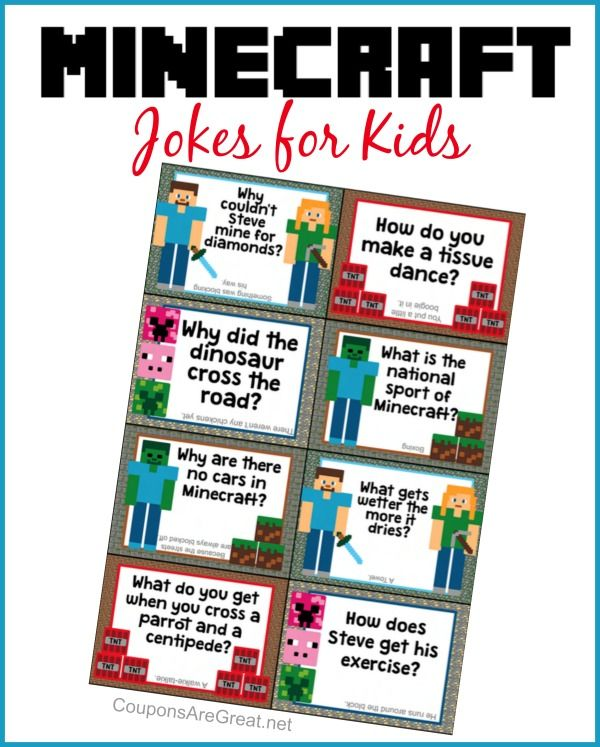 These Minecraft jokes are the perfect printable for lunch boxes, lap tops, backpacks, pillows, and more!
