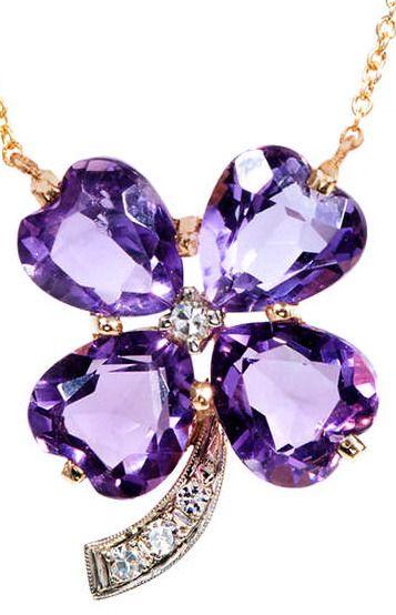 Amethyst Diamond Four Leaf Clover Pendant.  1950 to 1960 handmade 4 leaf clover Amethyst pendant. White gold under diamonds. 14k Yellow gold.
