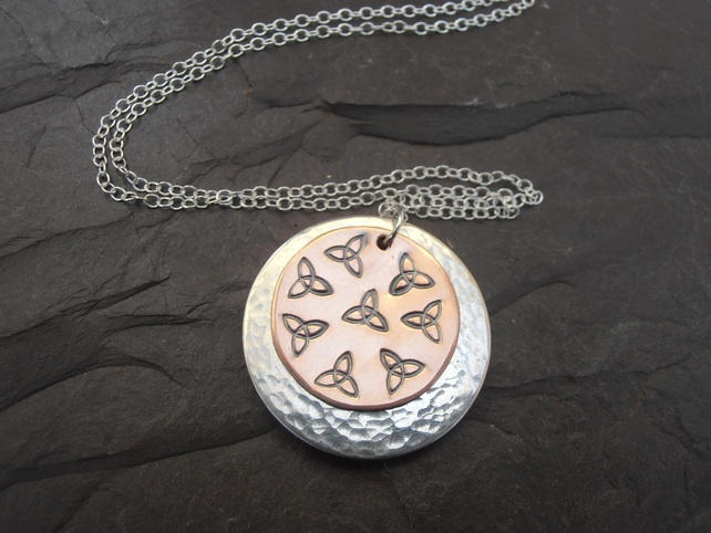 Celtic Knot Sterling Silver and Copper Pendant £26.00 by Little Red Robin