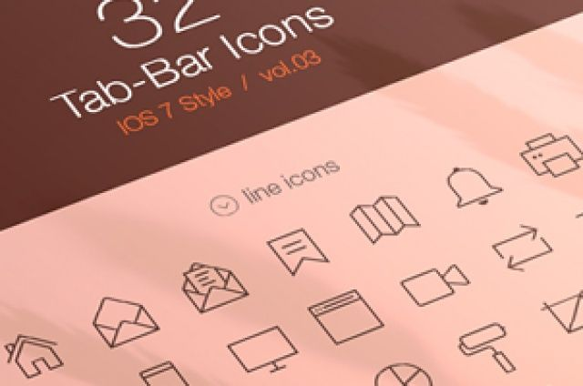 Third volume of our iOS7 tab bar icons with a collection of 32 icons made to help you create web and...