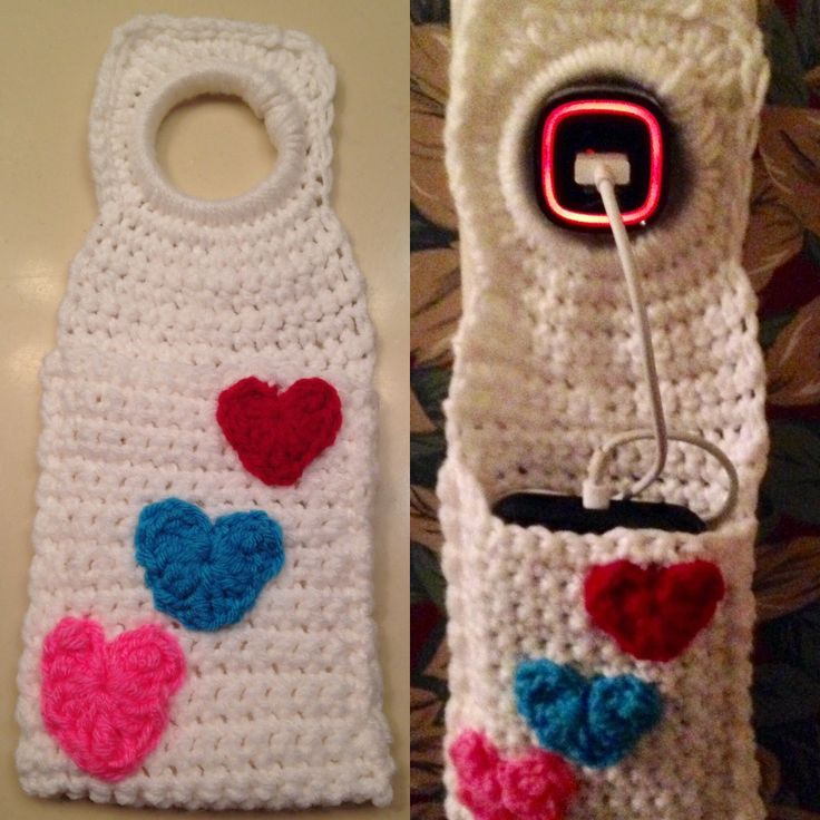 Crochet Cell phone, I-Phone/I-Pod Charger Bag, Holder -- Free Pattern!!! Valentine's Day gift...    -- The Perfect Stitch...: Crochet I-phone/I-pod.  Great storage bag for your electronic device while it's charging!!!  -- Hearts Bag...