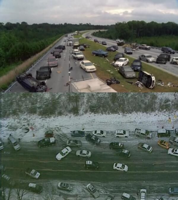 Atlanta after 2 inches of snow looks an awful lot like Atlanta in episode 2 of the Walking Dead