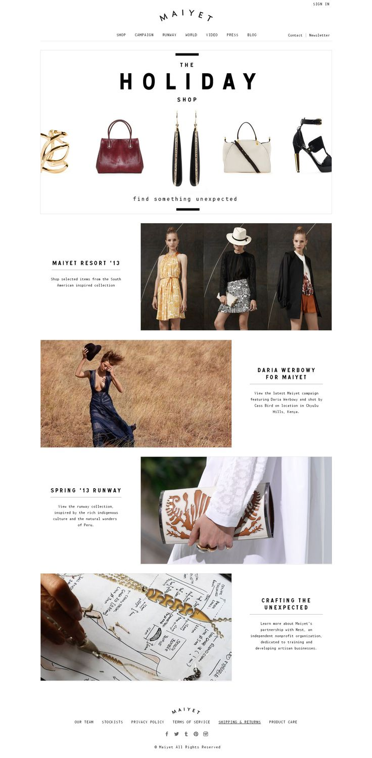 Love the layout for this Maiyet email, and the spacing in the title