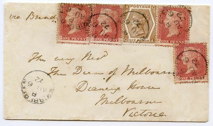 1872 cover #Skibbereen, #Ireland, to #Australia with 4x1d red, 6d chestnut tied cds #postalhistory #philately #stamps