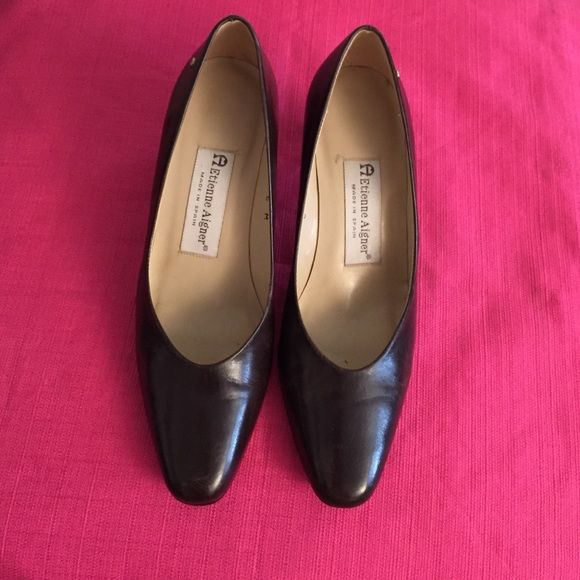 Chocolate brown shoes All leather upper, good as new .6M ,2 inches heels. Made by Etienne Aigner Spain .with a very li'l nail pinched on the right shoes , not noticeable.. Etienne Aigner Shoes