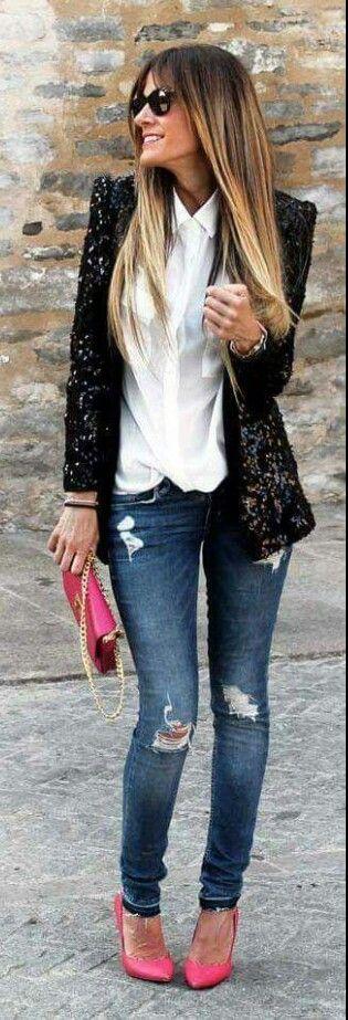 Outfit blazer brilloso