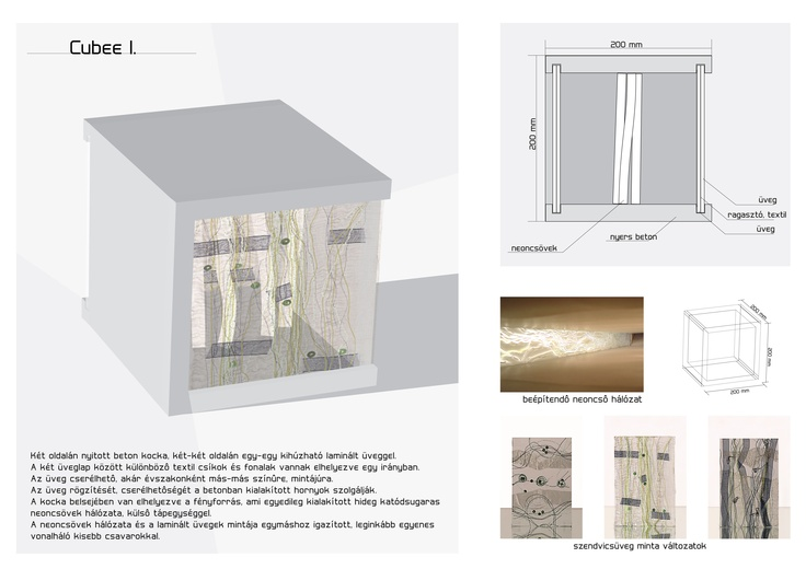 neon light glass-concrete cube plan for Ivanka competition