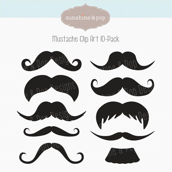 INSTANT DOWNLOAD Mustache Party Digital Clip Art  for photobooth props, printables, invitations, and more. $3.75, via Etsy.