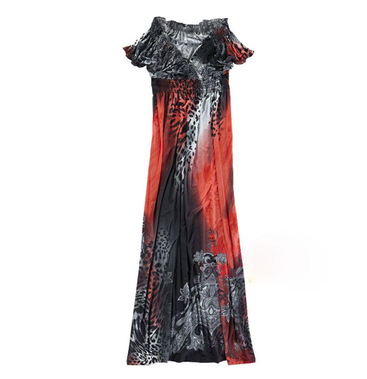2015 moda verano bohemia vestido largo tobillo longitud vestidos estampados de leopardo Sexy cuello en V Beach Dress vestido de tirantes XL XXL 6 colores en Vestidos de Moda y Complementos Mujer en AliExpress.com | Alibaba Group