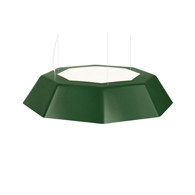 Umbrella Uplight Pendant features an acrylic diffuser on bottom and 30 percent on top for subtle uplighting. Aluminum shade in available in Green, Black, or White. Four 36 watt, 120 volt T3 type 2G11 base compact fluorescent bulbs are required, but not included. Comes with 6 feet of cord. cUL listed. 31.5 inch width x 6.5 inch height x 72 inch length.