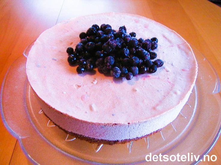 """""""Solbæriskake"""" er en spennende og kjempegod iskake som passer glimrende nå som solbærbuskene bugner av bær. Men selve isen er laget med ferdigkjøpt solbærsyltetøy, så sløyfer du pynten (eller har noen frosne solbær i fryseren), kan iskaken lages når som helst ellers på året også. Tilsett gjerne solbærlikør - det gir ekstra nydelig smak!"""
