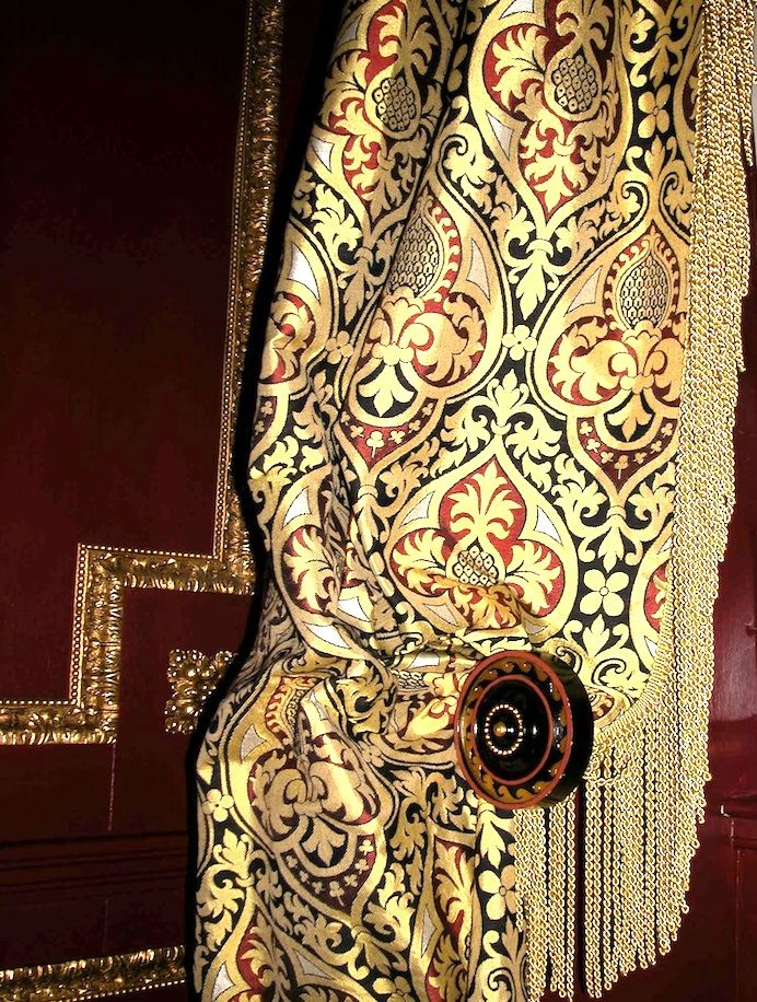 Talbot  c.1848 This wonderful 19th design originates from a set of vestments designed by Augustus Pugin (who also designed the interior of Westminster Palace) for his own church, St Augustine's Abbey in Ramsgate.