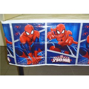 1082 - Spiderman Tableclover Spiderman Ultimate Tablecover, Plastic (1.8 Metres long x 1.3 Metres wide) - Each