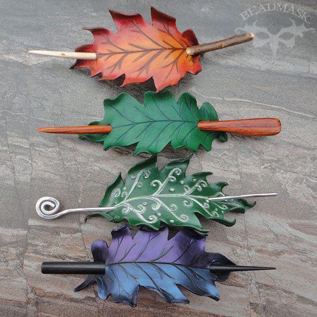 beautiful *elvish leaf* hair stick barrettes More Leaf Hair, Hairs, Hair Sticks, Hair Sliding Leather Oak Leaf Hair Slides by Beadmask.deviantart.com on @deviantART