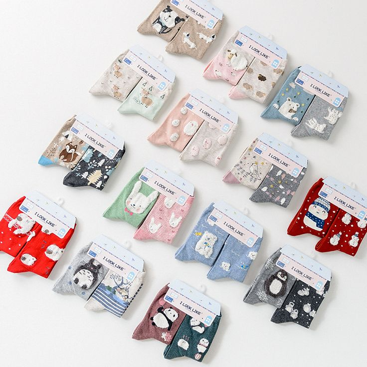 new arrive autumn winter cute cartoon 3d animal patterns cotton socks for women fashion creative brand story socks 2pairs/lot