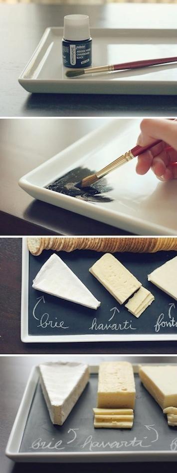 7 #DIY Chalkboard Paint Ideas #6: Chalkboard Paint Cheese Plate