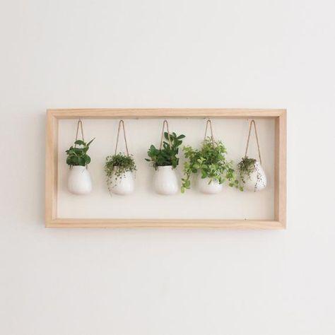 Indoor Herb Garden in Wooden Frame | Wall Mount Planter | Living Plant Wall | Summer Decor | Hanging Planter | Pot for Indoor Plants
