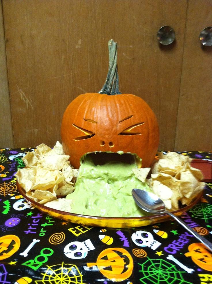Pumpkin throwing up guacamole! Instead of guacamole do the salsa and or cheese dip #halloweenParty #Halloween #halloweenideas