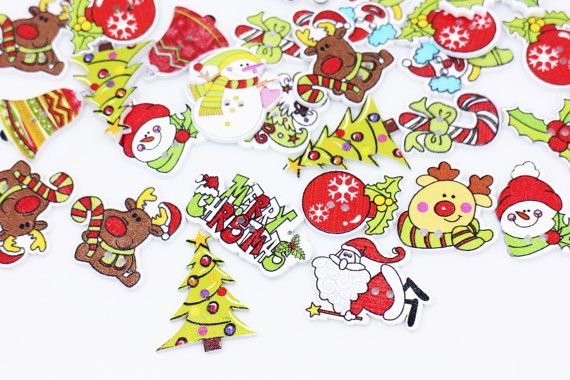 Christmas Wood Button X'mas Holiday Wooden by boysenberryaccessory