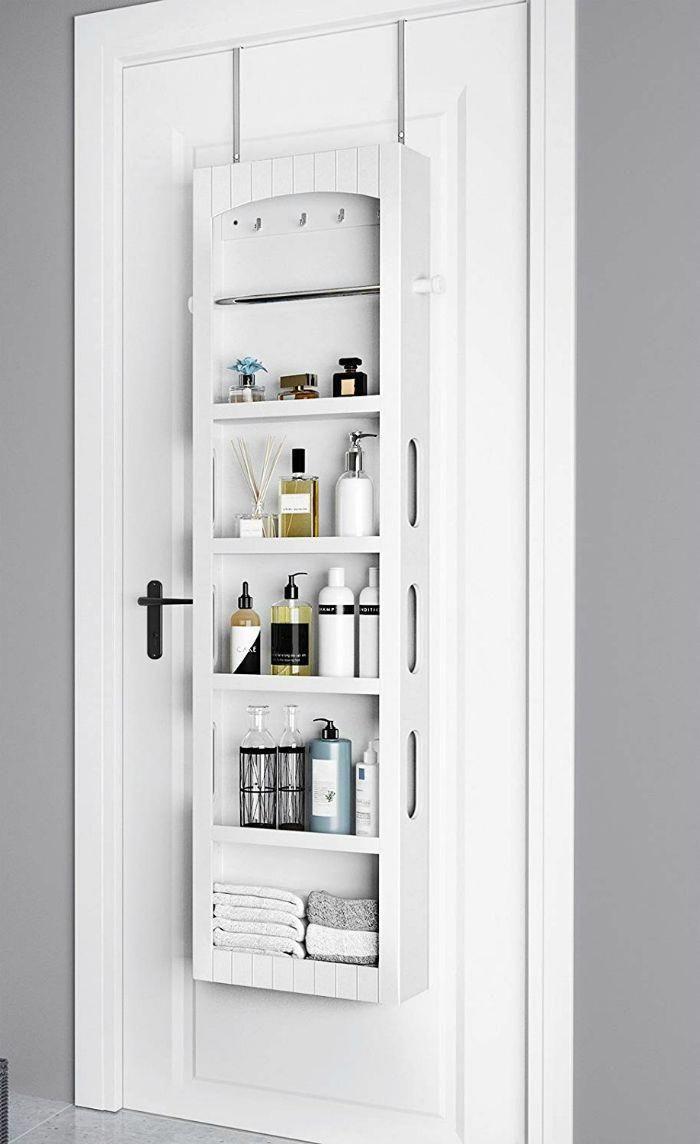 14 Brilliant Storage Ideas For Small Spaces Over The Door Bathroom Storage Cabinet Bathroomc In 2020 Small Space Bathroom Small Bathroom Storage Small Bathroom Redo