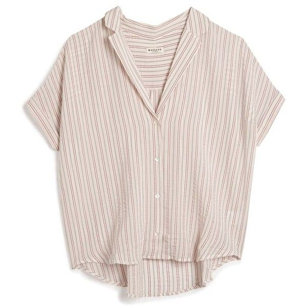 Masscob Seersucker Top ($291) ❤ liked on Polyvore featuring tops, shirts, clothes - tops, red, crop top, button up shirts, pink shirt, short-sleeve button-down shirts and red stripe shirt