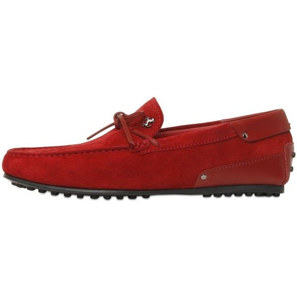 Tod's Ferrari Men City Gommino Suede Loafers ($515) ❤ liked on Polyvore featuring men's fashion, men's shoes, men's loafers, red, mens red shoes, mens red suede shoes, mens shoes, mens suede loafers and mens red loafers