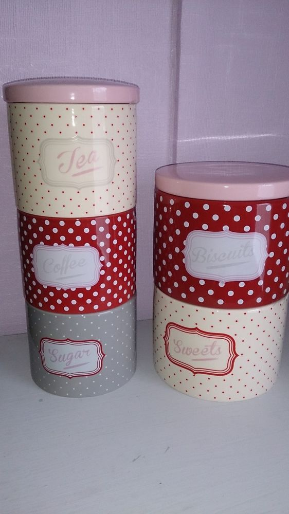 Red Pink Polka Spot Spotty Ceramic STORAGE JARS Biscuits Tea Coffee Sugar  NEW