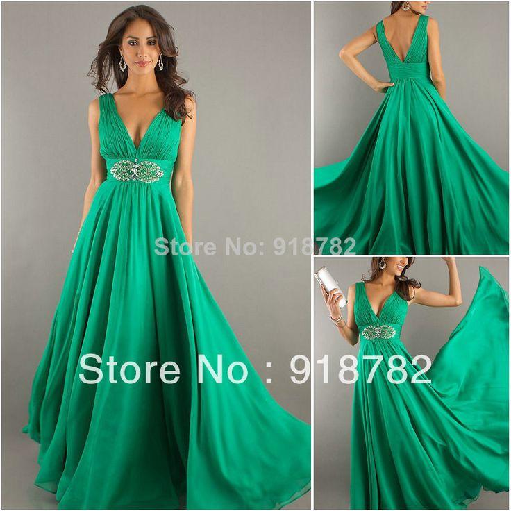 L'arrivée de nouveaux 2014 nouvelle mode sexy d'été en mousseline de soie longues robes de bal vert vestido de fête longo perlage robe de soirée