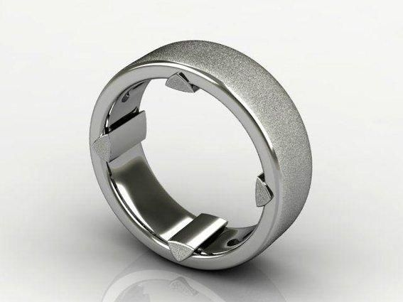 We love this palladium wedding band with insert accents and textured brush finish!  #wedding #band #forhim